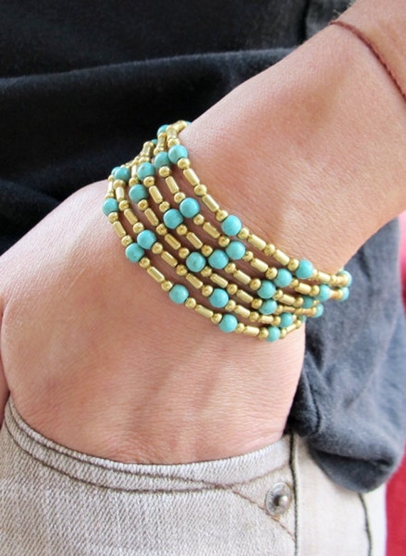 Three in One Style Turquoise with Brass Bead Bracelet or Anklet or Necklace