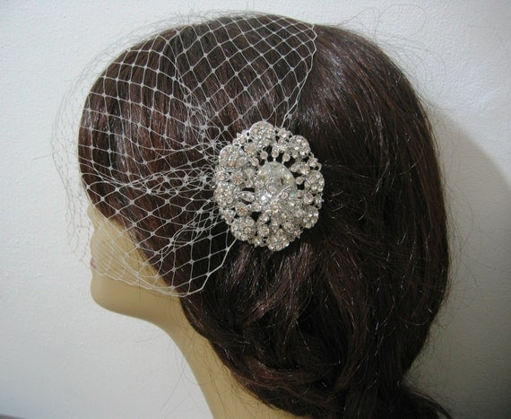 Birdcage Veil and a Bridal Hair Comb (2 Items)  Rhinestone Bridal Hair Comb, Weddings, Silver, Rinestone