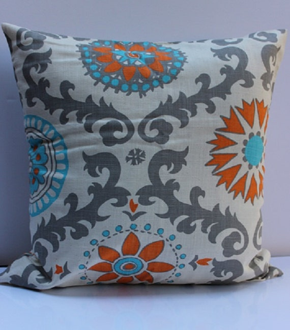 Orange, Natura, Grayl and Blue Floral Damask Pattern Pillow Cover - 18 Inch - BeautifulPattern Mixes with Variety of Decor and Colors