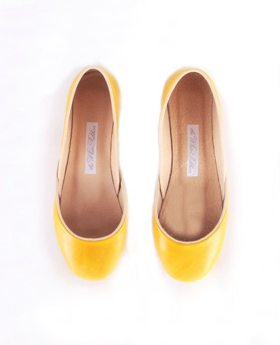 up-cycled leather ballet flats. dark yellow.