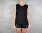 vintage sweater, 1990's black minimalist sleeveless loose knit shirt / jumper, medium - youngandukraine