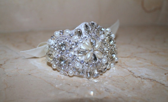 Bridal beaded swarovski pearl & crystal luxury couture wedding bracelet/cuff. DUCHESS PEARL