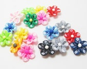 18 Large Clay Flower Hawaiian Beads Destash Lot Multi Colors 4214 - WhispySnowAngel