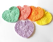 30percent off, free ribbon wrap Crochet Heart Coaster Valentine's 4 inches Bright  Orange Yellow Green Purple Coral Cotton Yarn, set of 5 - Chieu