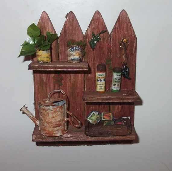 Dollhouse  Fence Garden shelf - 1/12th Scale