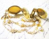 Art Deco Locket Honey Bee Charm Necklace Wedding Bridesmaid Maid of Honor Gifts Locket Pendant - TwigsAndLace