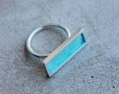 Word silver ring with light sea enamel