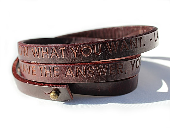 Personalized Brown Leather Wrap Bracelet, Custom Text, Adjustable