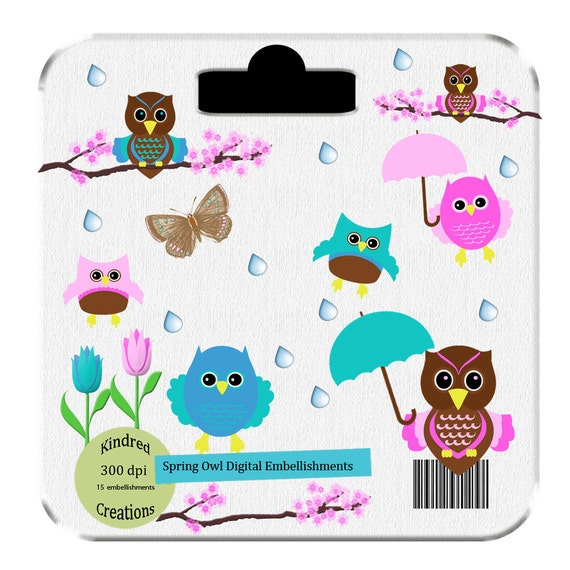 Spring Owls Digital Embellishment Set