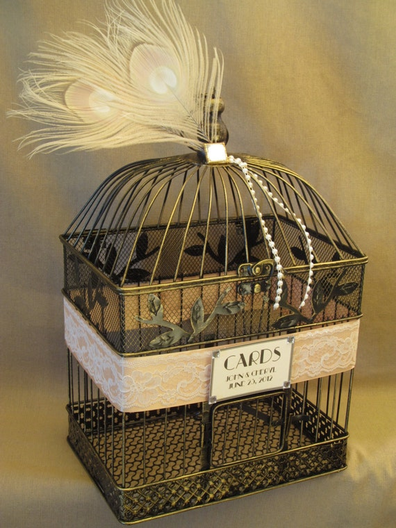 Wedding Card Box / Vintage Style / Peacock Feathers / Lace / Pearls / Art Deco Birdcage Wedding Card Holder