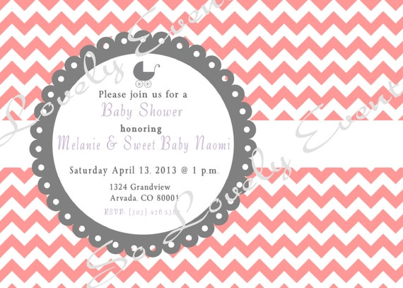Printable - Chevron or Polka Dot - Baby Shower Invitation - Choose Your Colors