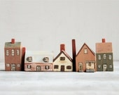 Vintage Folk Art Wooden Houses/Village