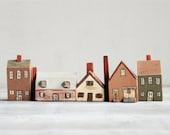 Vintage Folk Art Wooden Houses/Village