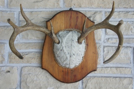 Vintage Deer Antler Mount WhiteSweater Upcycled Unique Taxidermy Woodland Wall Art