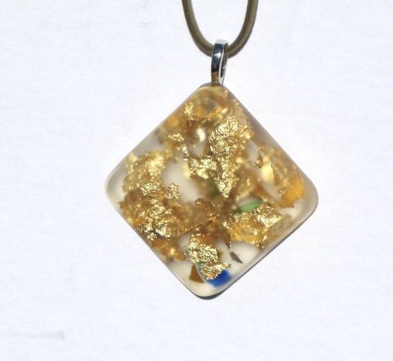 Upcycled / Recycled / Glass / Resin / Gold Leaf / Blue / Green /  Pendant / Silver Bail