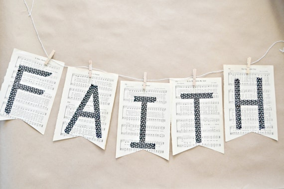 Faith Vintage Hymnal Paper Bunting DIY Kit