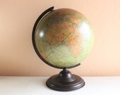"Beautiful Antique 1934s Replogle 12"" Liberty Globe with Case Iron, Made in USA - bygrassdoll"