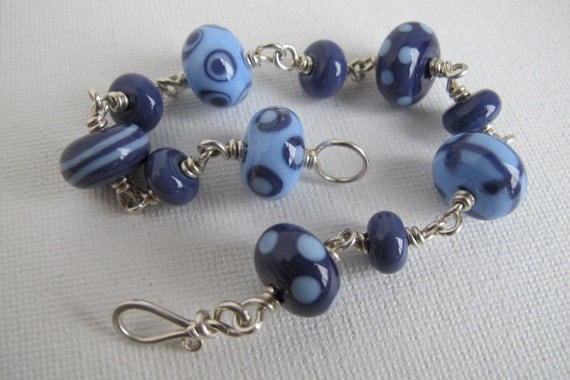 Sterling Silver and Denim Lampwork Bracelet