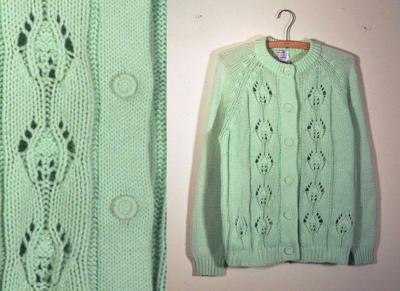 1960's mint green hand loomed chunky knit cardigan