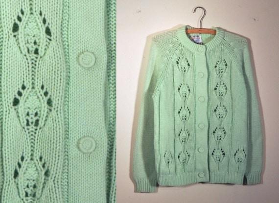 1960's mint green hand loomed chunky knit cardigan