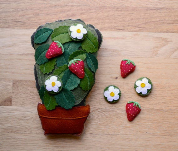 Strawberry Montessori Work. Handmade Summer Fruit Counting and Sorting Toy by Aly Parrott on Etsy. Made to Order.