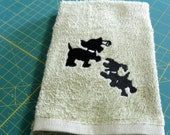 Embroidery Dog Towel Cotton  Hand Towel Chervil Green