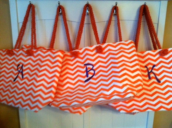 Monogrammed or Personalized Chevron Design  Tote or Beach Bag Trendy Colors