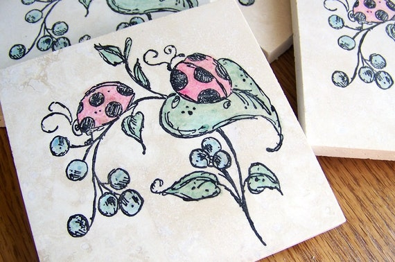 coasters, natural stone, tumbled tile, - ladybugs and blueberries,  set of 4 -