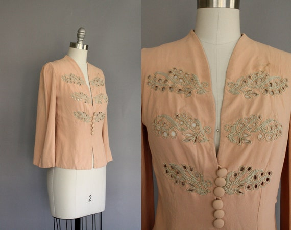 peachy pink vintage 40's blouse jacket with covered button front