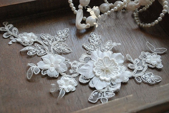 Bridal Headpiece ,Wedding Lace Applique, Sequined Pearl Lace Applique , Alencon Lace Applique , Wedding Dress Accessory