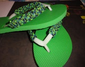 Hippy Dippy Flip Flops Green with Multi Color Wrap