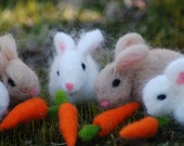 Easter Needle Felted Bunny With Carrot 1 Easter Bunny 1 Carrot Handmade Ready To Ship For - BondurantMountainArt