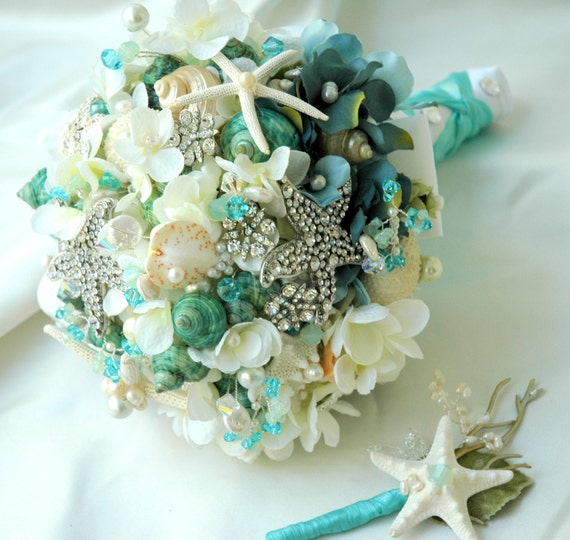 Sea Shell Bridal Bouquet Wedding,Tiffany Blue Bridal Brooch Bouquet, Bridal Bouquet