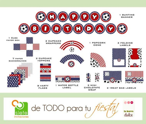 USA Soccer PRINTABLE American flag 4 of july Fourth Independence Estados Unidos Cuatro de Julio PARTY package kit futebol futbol