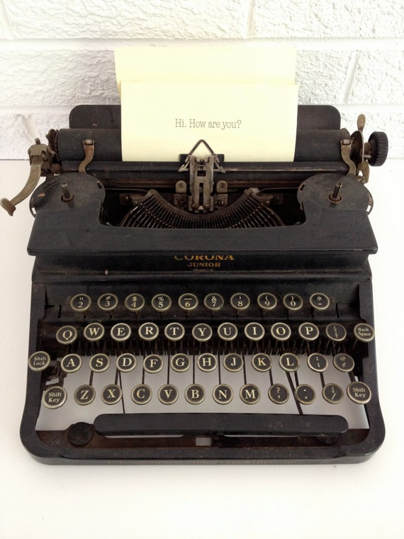Antique 1930's Corona Junior Typewriter - Model S