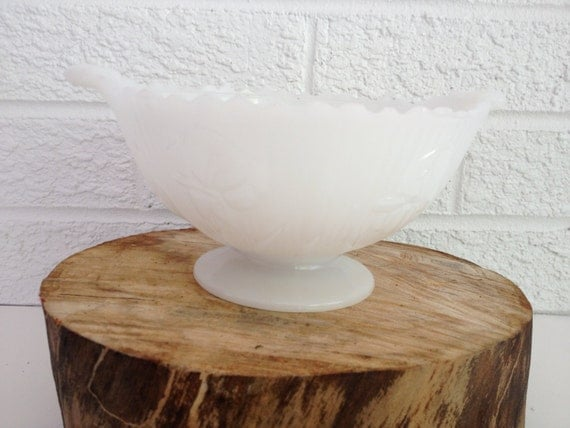 Vintage Milk Glass Pedestal Bowl