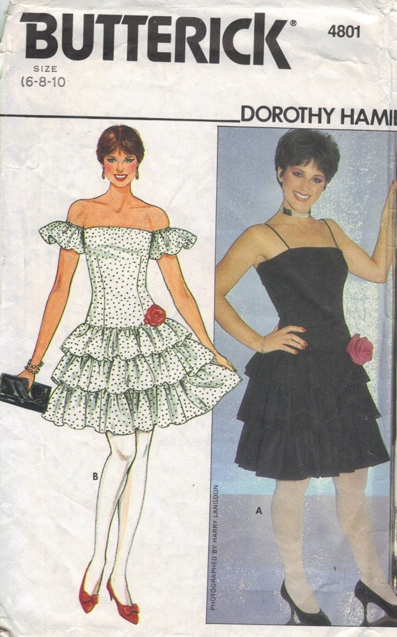 Butterick 80s Sewing Pattern Party Dress Fitted Bodice Ruffle Mini Skirt Off Shoulder Sleeves Prom Dance Dress Bust 32