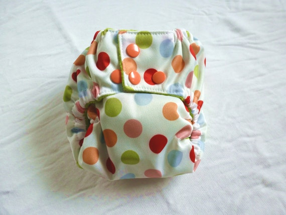 Creamsicle Dot One Size PUL Pocket Diaper with Microfleece