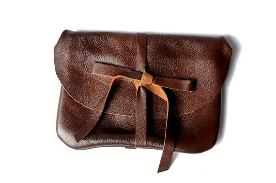 free shipping- brown leather clutch, pouch