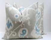 20 x 20 Throw Pillow Covers Ikat Pillow Gray Pillow 20x20  Grey Blue Pillow Decorative Throw Pillows Printed fabric both sides - poshstreetpillows
