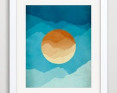 Orange and Blue Mid Century Modern Art, Abstract Landscape, Mountains, Minimalist Poster, Wall Decor - evesand