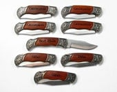 Groomsman Gifts for Groomsmen, Best Man Gift, Set of 8 Rosewood Pocket Knives, Wedding Favor, Engraved Personalized Keepsake, groomsmen gift - JourneyProductions