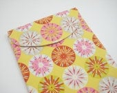 iPad Sleeve, iPad Case, iPad Cover, Fabric iPad Case, in Yellow, Orange, and Pink Print, Ready to Ship