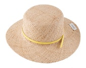 straw  wide brimmed hat, hat for women, hat with leather stripe, Nina - JustineHats