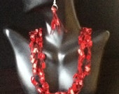 Free US Shipping: Red and Black Crocheted Necklace & Earrings Gift Set