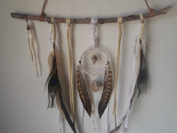 leather and lace... a bohemian dream catcher // free shipping in the US // ready to ship