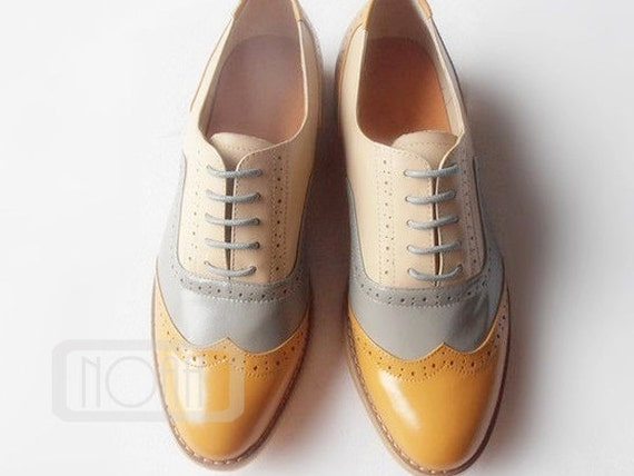 Pale Brown Grey  Leather Wing Tips