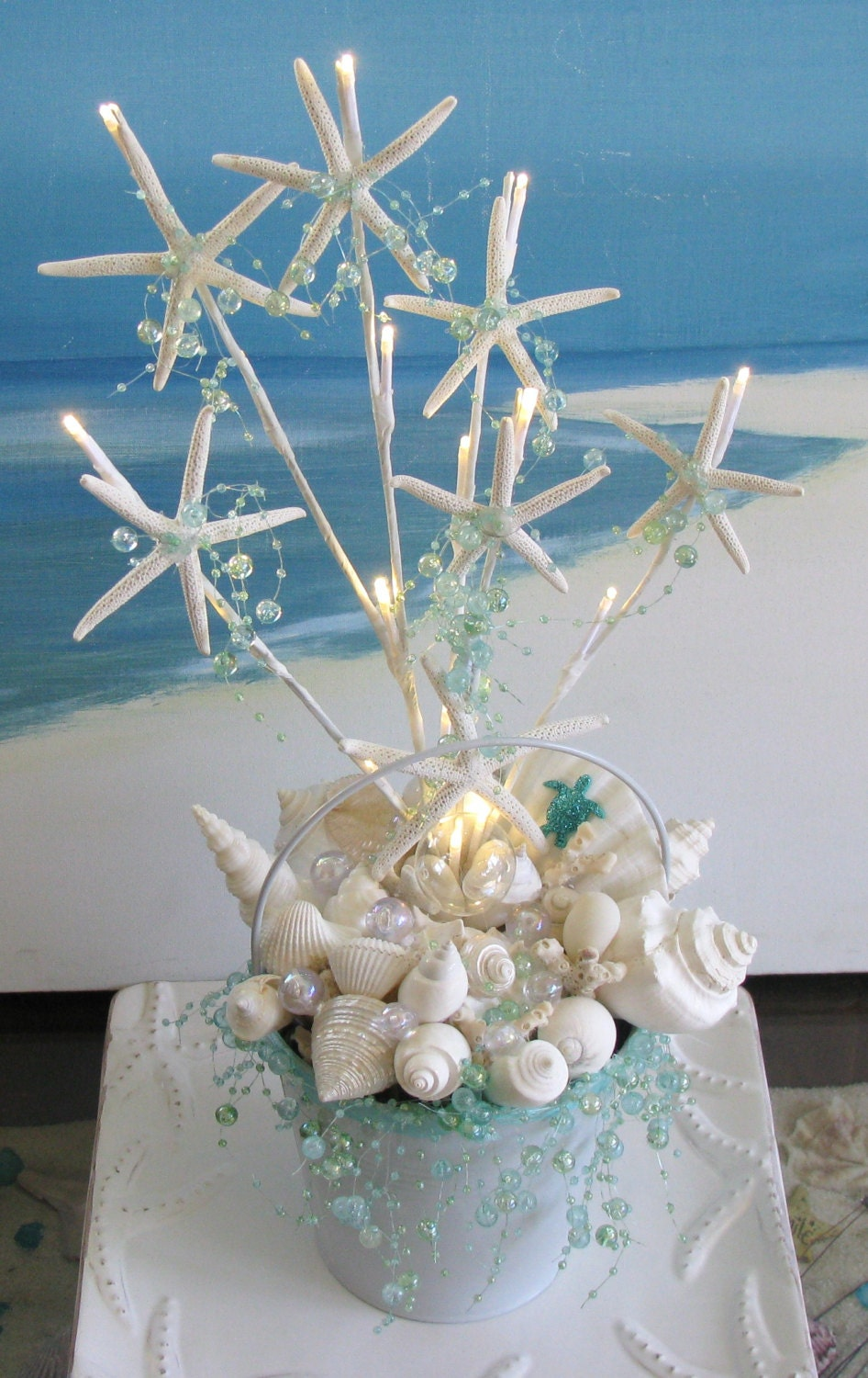 Seashell starfish light up wedding centerpiece beach