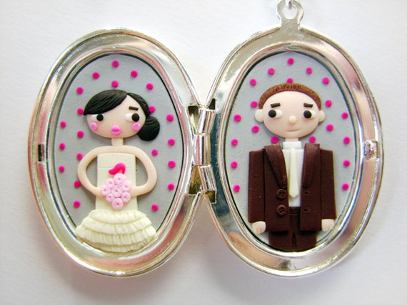 Custom lovers double portrait in a locket - Made on order