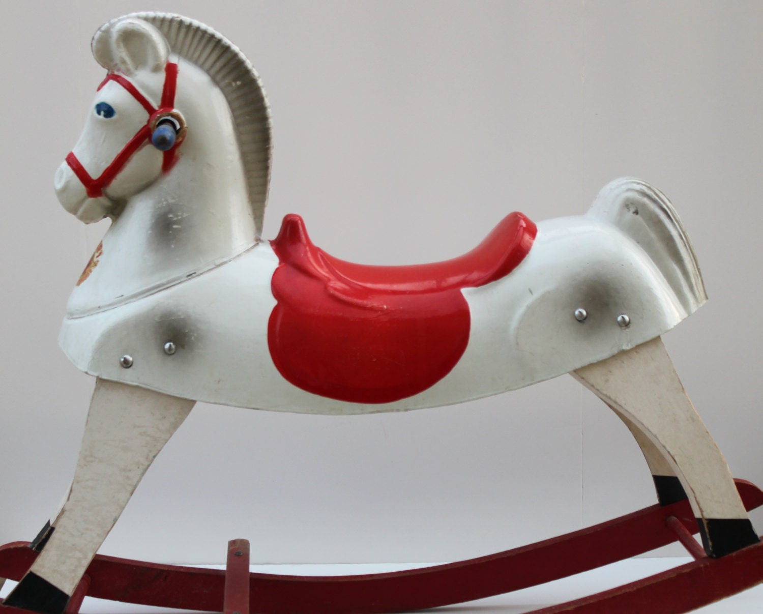 GoodPennyDesigns at Etsy antique rocking horse not all wood though